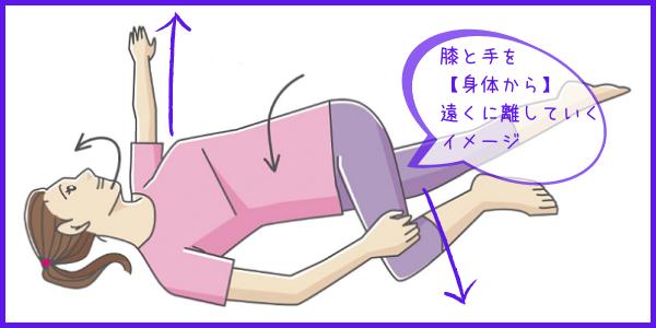 身体を捻じって膝と腕で引っ張りあいます