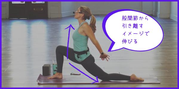 腹筋背筋を意識して、股関節を引き離す