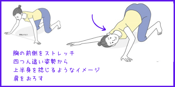 胸~肩付け根のストレッチイラスト